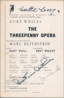 THE THREEPENNY OPERA PLAY CAST - SHOW BILL SIGNED CO-SIGNED BY: LOTTE LENYA, BEATRICE BEA ARTHUR, JANE CONNELL