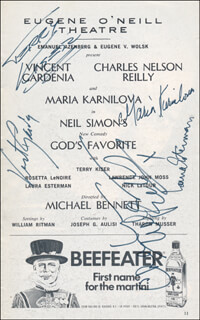 GOD'S FAVORITE PLAY CAST - SHOW BILL SIGNED CO-SIGNED BY: CHARLES NELSON REILLY, VINCENT GARDENIA, MARIA KARNILOVA, LAURA ESTERMAN, TERRY KISER
