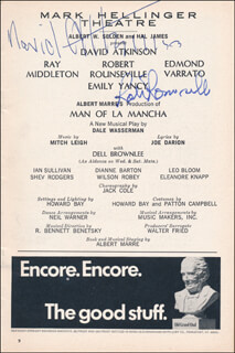 MAN OF LA MANCHA PLAY CAST - SHOW BILL SIGNED CO-SIGNED BY: ROBERT ROUNSEVILLE, DAVID ATKINSON
