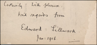 EDWARD SILLWARD - AUTOGRAPH SENTIMENT SIGNED 01/1916