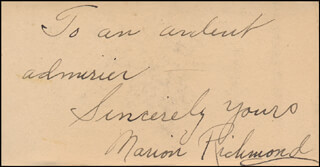 MARION (RICHMOND) BURNS - AUTOGRAPH NOTE SIGNED