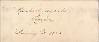 MISS LINDA - AUTOGRAPH SENTIMENT SIGNED 1926