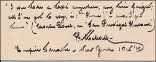 FERDINAND GOTTSCHALK - AUTOGRAPH QUOTATION SIGNED 10/01/1914