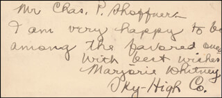 MARJORIE WHITNEY - AUTOGRAPH NOTE SIGNED