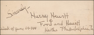 HARRY HEWITT - AUTOGRAPH NOTE SIGNED 06/29/1914