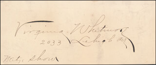 VIRGINIA WHITMORE - AUTOGRAPH
