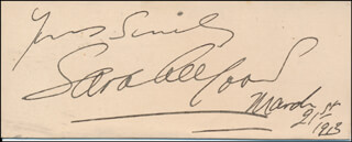 SARA ALLGOOD - AUTOGRAPH SENTIMENT SIGNED 03/21/1913
