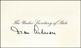 DEAN ACHESON - CALLING CARD SIGNED  - HFSID 343891