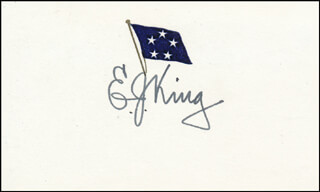 Autographs: ADMIRAL ERNEST J. KING - PRINTED CARD SIGNED IN INK