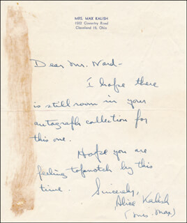 ALICE (MRS. MAX) KALISH - AUTOGRAPH LETTER SIGNED