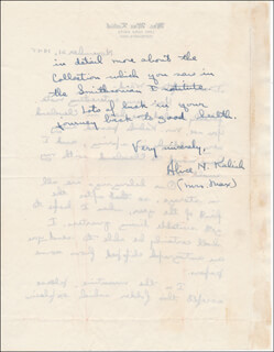 ALICE (MRS. MAX) KALISH - AUTOGRAPH LETTER SIGNED 11/21/1945