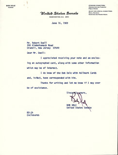 ROBERT J. BOB DOLE - TYPED LETTER SIGNED 06/16/1969