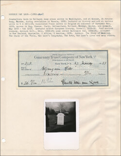 HENDRIK WILLEM VAN LOON - AUTOGRAPHED SIGNED CHECK 01/27/1943