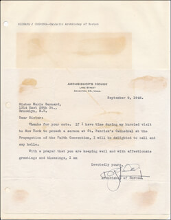 Autographs: RICHARD CARDINAL CUSHING - TYPED LETTER SIGNED 09/09/1946