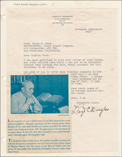 LLOYD C. DOUGLAS - TYPED LETTER SIGNED 11/18/1943