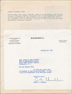 ALBERT B. HAPPY CHANDLER - TYPED LETTER SIGNED 11/20/1945