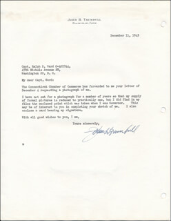 GOVERNOR JOHN H. TRUMBULL - TYPED LETTER SIGNED 12/11/1945