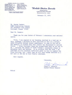 PETER DOMINICK - TYPED LETTER SIGNED 02/23/1973