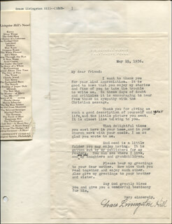 GRACE LIVINGSTON MARCIA MACDONALD HILL - TYPED LETTER SIGNED 05/15/1936