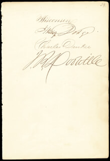 Autographs: HENRY DODGE - SIGNATURE(S) CO-SIGNED BY: GOVERNOR CHARLES DURKEE, JAMES ROOD DOOLITTLE
