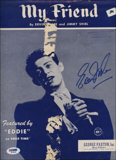 EDDIE FISHER - SHEET MUSIC SIGNED  - HFSID 343951