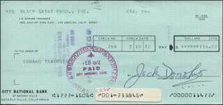 JACK DONOHUE - AUTOGRAPHED SIGNED CHECK 02/18/1972