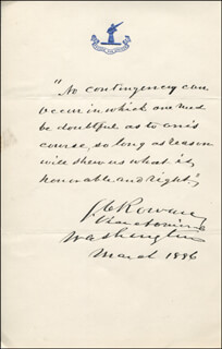 VICE ADMIRAL STEPHEN C. ROWAN - AUTOGRAPH QUOTATION SIGNED 03/1886  - HFSID 343969