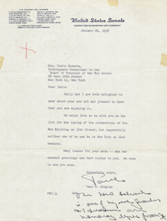 PAUL H. DOUGLAS - TYPED LETTER SIGNED 01/26/1956