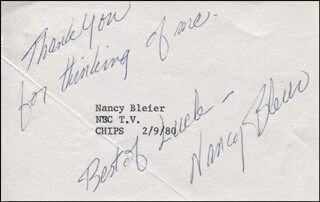 NANCY BLEIER - AUTOGRAPH SENTIMENT SIGNED