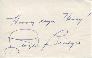 LLOYD BRIDGES - AUTOGRAPH NOTE SIGNED