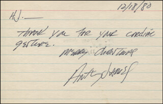 ANTHONY JAMES - AUTOGRAPH NOTE SIGNED 12/18/1980