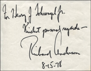 RICHARD ANDERSON - AUTOGRAPH NOTE SIGNED 08/15/1978