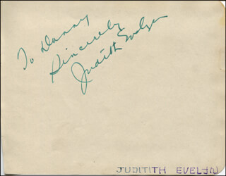 JUDITH EVELYN - AUTOGRAPH NOTE SIGNED
