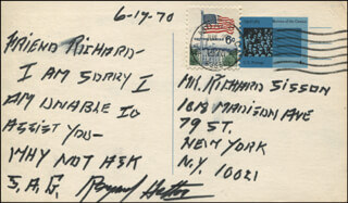 RAYMOND HATTON - AUTOGRAPH NOTE SIGNED 06/19/1970