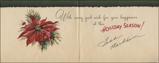 TODD MARKHAM - CHRISTMAS / HOLIDAY CARD SIGNED CIRCA 1955
