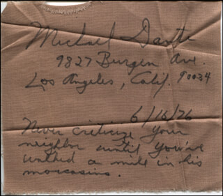 MICHAEL DANTE - EPHEMERA SIGNED 06/16/1976