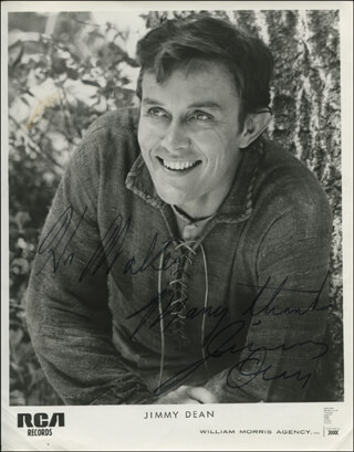 JIMMY DEAN - INSCRIBED PRINTED PHOTOGRAPH SIGNED IN INK