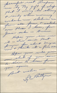 LYLE BETTGER - AUTOGRAPH LETTER SIGNED 01/25/1956
