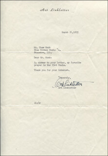 ART LINKLETTER - TYPED LETTER SIGNED 03/21/1955