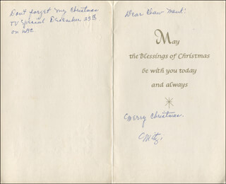 MITZI GAYNOR - CHRISTMAS / HOLIDAY CARD SIGNED CIRCA 1968