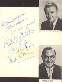 Autographs: EDMUND G. PAT BROWN - SIGNATURE(S) CO-SIGNED BY: CLAIR ENGLE, RICHARD RICHARDS, WILLIAM B. McKESSON