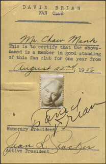 DAVID BRIAN - DOCUMENT SIGNED 08/22/1956