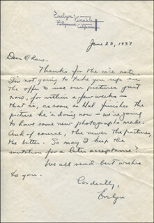 EVELYN VENABLE - AUTOGRAPH LETTER SIGNED 06/28/1937