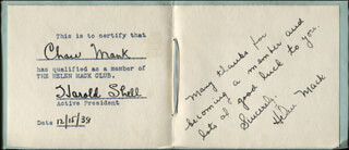HELEN MACK - AUTOGRAPH NOTE SIGNED 12/15/1938