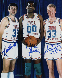 Autographs: BOSTON CELTICS - PHOTOGRAPH SIGNED CO-SIGNED BY: KEVIN McHALE, LARRY BIRD, ROBERT PARISH