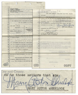 MARY ASTOR - DOCUMENT SIGNED 1953