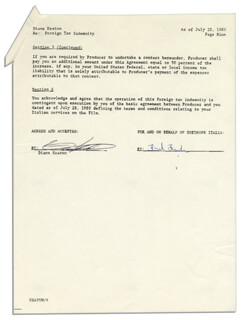 DIANE KEATON - CONTRACT SIGNED 07/28/1989 CO-SIGNED BY: FRED (FREDERIC S.) FUCHS