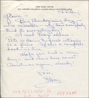 Autographs: MARY ASTOR - AUTOGRAPH LETTER SIGNED 11/24/1967