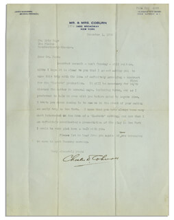 CHARLES D. COBURN - TYPED LETTER SIGNED 12/01/1920