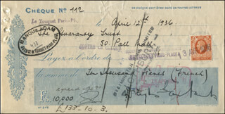 DOUGLAS FAIRBANKS SR. - AUTOGRAPHED SIGNED CHECK 04/12/1936